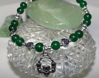 Celtic Claddagh Emerald Jade Bracelet