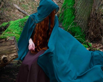 Ready to ship! Hooded fantasy cloak; cape; forest druid; medieval cape