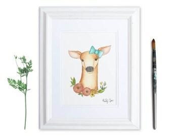 Watercolor Fawn Print | Fawn Nursery Decor | Floral Deer | Woodland Nursery Decor | Watercolor Animal Print | Whimsical Prints | Baby Girl