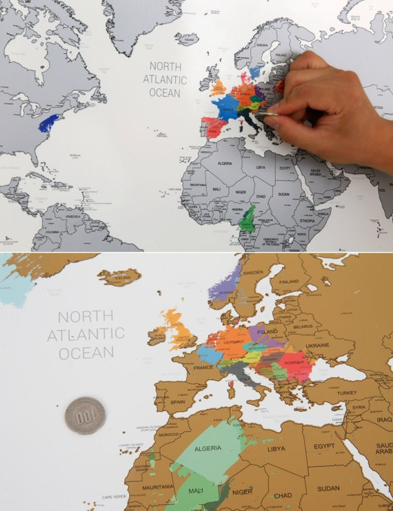 Scratch off world map poster silver gold from glassnam on etsy studio 2190 gumiabroncs Image collections