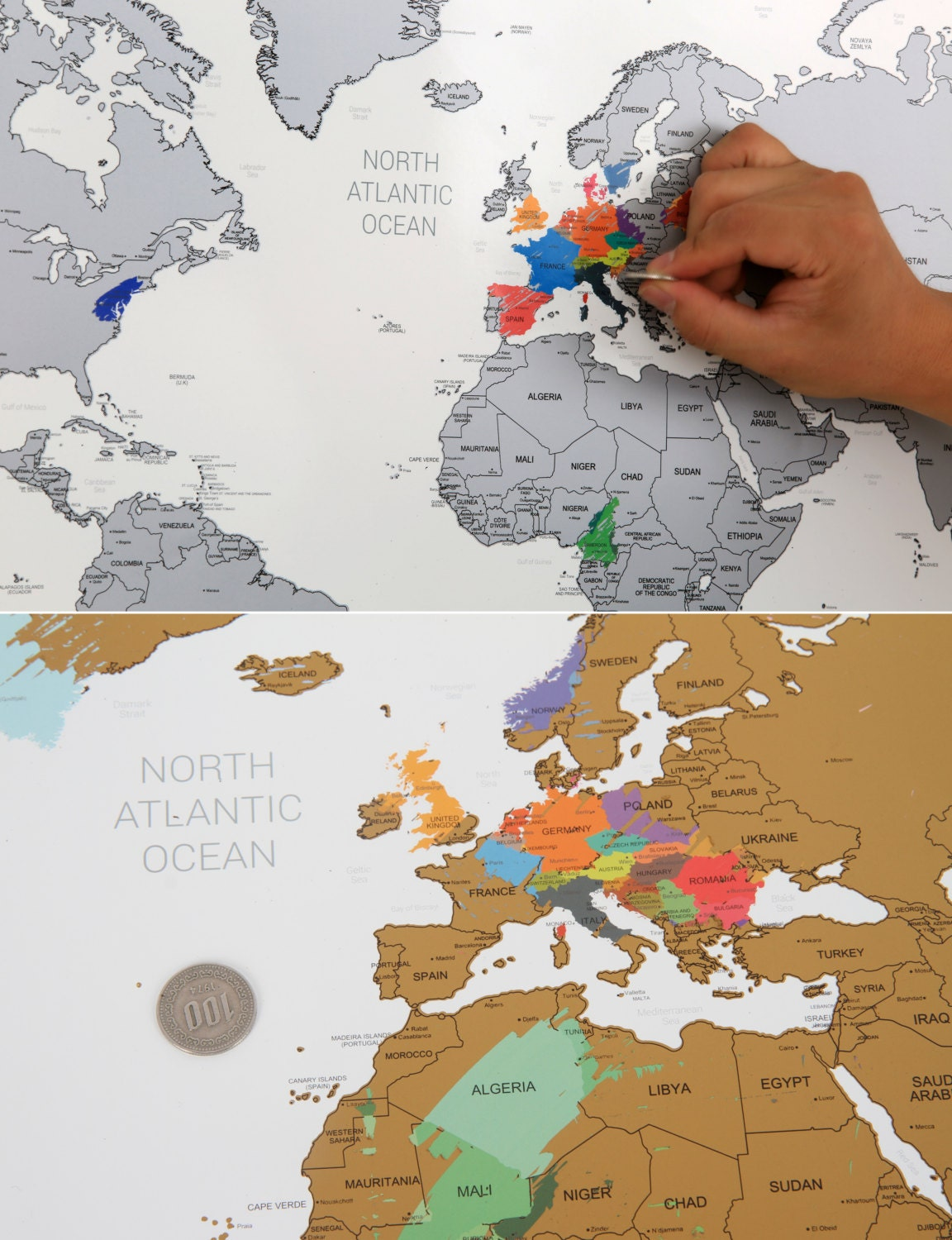 Scratch off world map poster silver gold from glassnam on etsy studio 2190 gumiabroncs Choice Image