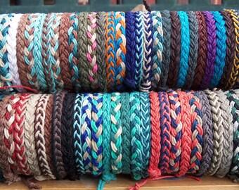 1 Braided HEMP ANKLET - Choose Your Colors - Design a 1, 2, or 3 color Anklet - Braided Hippie Surfer Hemp Anklets - Men, Women, & All Ages