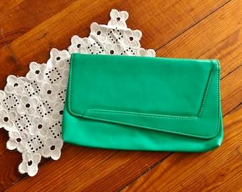Vintage 1980's Green Pleather Clutch