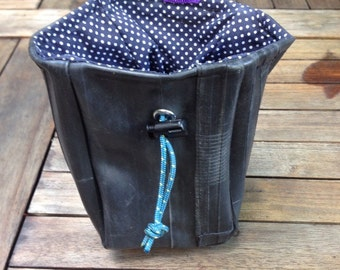Rock Climbing Chalk Bag / Sustainable materials - Reused Bike tubes, Scrap fabric lining