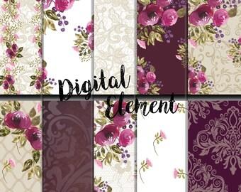 Digital Scrapbook Paper, Digital Watercolor Paper, Plum Watercolor Rose Digital Paper, Wedding Digital Paper, Vintage Rose Paper. No. P153
