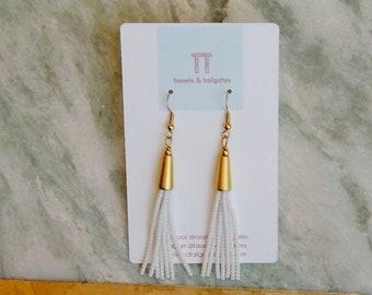 Poppy Petite White Beaded Tassel & Matte Gold Earrings