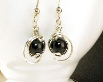 Black Onyx Sterling Silver Drop Earrings, Small Black Stone Unique Wire Dangle Earrings, Argentium Silver Earrings