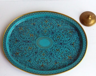 Vintage Mid Century Modern Turquoise Aluminum Oval Tray Blue and Gold MCM Boho Bohemian 1970s Moroccan Decor Coastal Cali Hippie