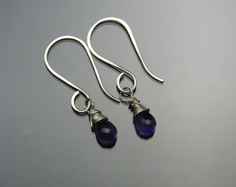 Amethyst Earrings, February Birthstone, Sterling Silver, Natural Amethyst, Briolette Earrings, Three Metal Options, Earrings Only