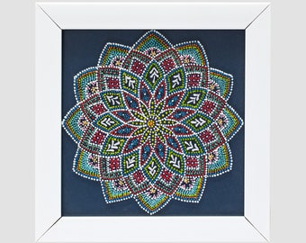 Handmade wall art with color points on glass with metal frame