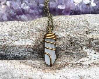 Sea Glass Necklace - Wire Wrapped Seaglass Jewelry from Hawaii - Beach Boho Jewelry - Gypsy Necklace - Sea Glass Necklace Bohemian Necklace