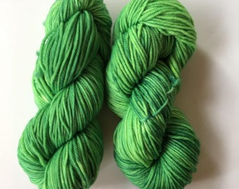 Lime After Lime. 100g 8ply/DK (double knit) weight yarn.  Kettle Dyed. Machine Washable. 100% Australian Wool.