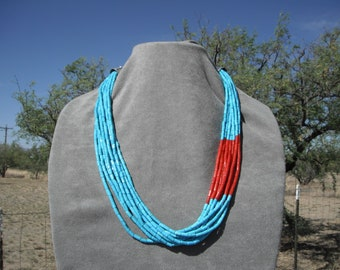 TURQUOISE and CORAL NECKLACE   # 1171-L