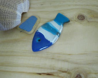 Blue and white - fish decor-marine art mosaic door knives