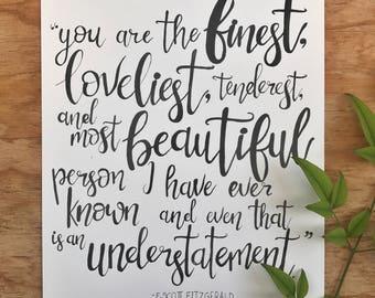 F. Scott Fitzgerald Quote - Print