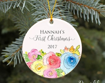 Baby's First Christmas Ornament Baby Girl's 1st Christmas Personalized Christmas Ornament Baby Shower Gift Baby Gift Watercolor Flowers