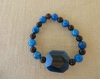 Blue And Brown Agate Assorted Beads Stretch Bracelet
