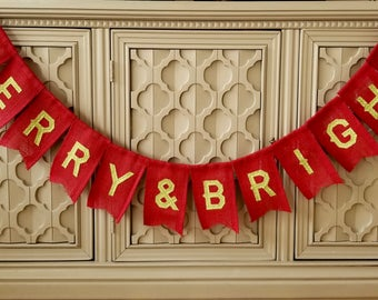 Merry and Bright Banner, Merry Banner, Christmas Banner, Red, Green, Burlap Banner, Holiday Decor, Mantle Decor, Christmas Decor