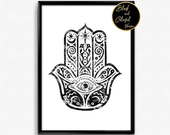 Hamsa Hand, Amulet, Protection, Symbol, Watercolor,  Poster, Room Decor, gift, print, wall art (146)