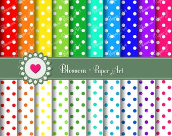 Dots Digital Paper Polka Dots Digital Scrapbook Paper Pack, Scrapbooking, Decoupage, use for Invitations - Parties - DIY Proyects - 1351