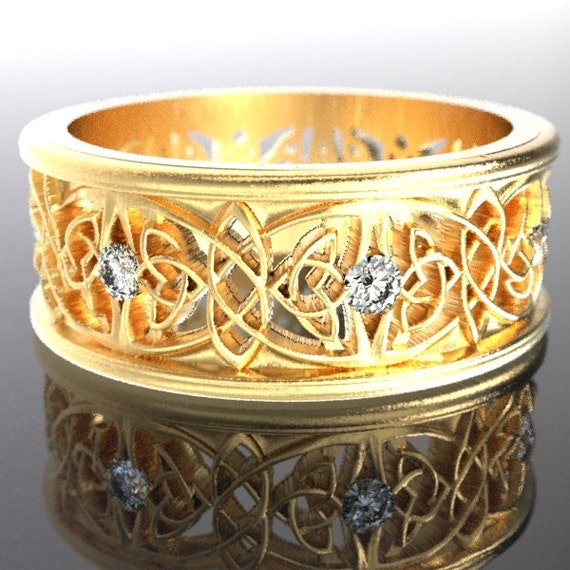 Gold Celtic Wedding Ring With Cut-Through Celtic Butterfly Design & Moissanite Stones in 10K 14K 18K or Palladium, Made in Your Size Cr-1040
