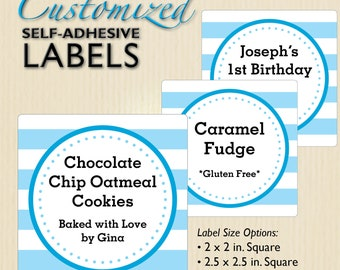 Blue Stripe Labels, Cookie Packaging, Bakery, School Bake Sale, Church Fundraiser, Birthday Favors, Cupcake Boxes, Personalized, Custom Text
