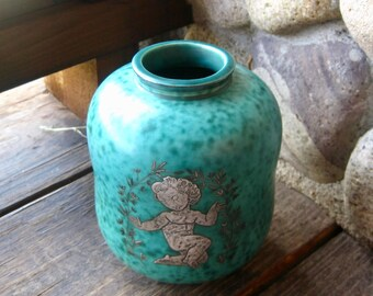 Gustavsberg Argenta Vase, Turquoise with Silver Overlay, Vintage Art Pottery from Sweden, Mid Century