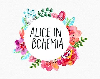 Bohemian Blumen-Logo-Design, Bright Blumen, bunte Blumen, Kreis Logo, Logo Kranz, Aquarell Blumen Aquarell Logo