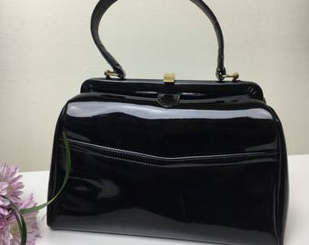 60's French Dofan Patent Genuine Leather Black Day Bag