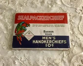 Unopened Handkerchiefs Package Mens Antique
