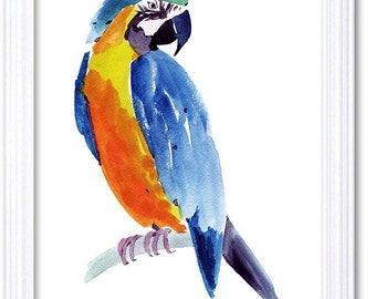 Colorful Parrot Watercolor Art Painting Print Poster Bird Art Parrot Painting Blue Yellow Orange Home Decor Wall Art Child Nursery Art