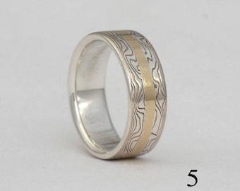 Size 5 mokume gane, gold stripe band, #222.