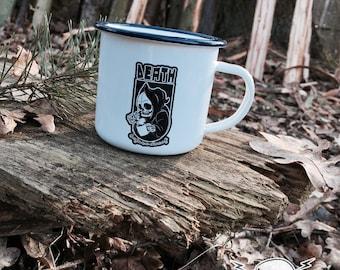 Death before DECAF enamel mug