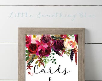Cards & Gifts Sign // Wedding Sign // Bridal Shower Sign // 8.5x11 // Floral // Printable // Digital Download