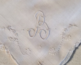 Vintage White Hanky with a White Initial B - Handkerchief Hankie