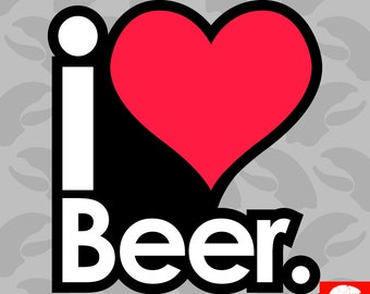 I Love Beer Sticker Self Adhesive Vinyl i beer - C924