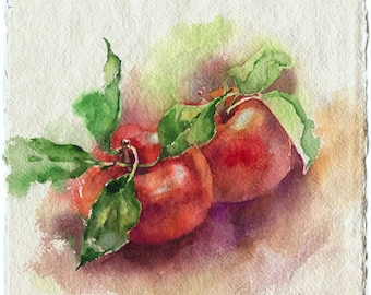 Watercolor fruit painting - red apple painting for kitchen, original, paper