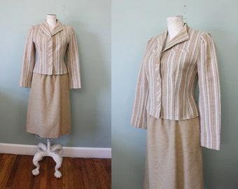 1970s Devon Hall Tailored Two Piece Tweed Suit Jacket Skirt Set / 70s Striped Linen Suit Dress / XS – Small