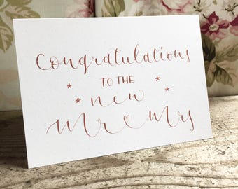 Congratulations to the new Mr & Mrs wedding card