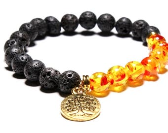 Tree Of Life Chakra Meditation Bracelet With Black Lava Beads