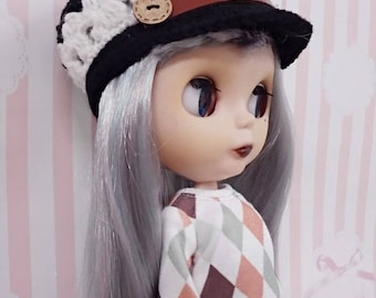 "12"" blythe doll hat crochet  button cap black"
