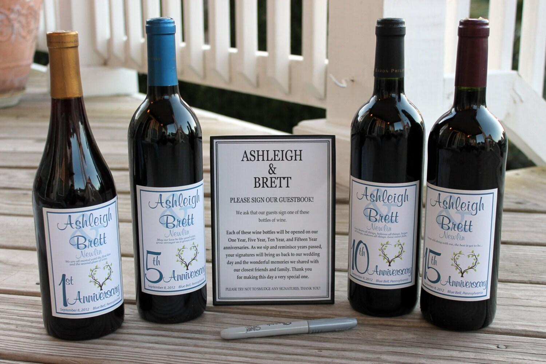 spesso Vino bottiglia Guest Book Kit Gift Boxed etichette HB37