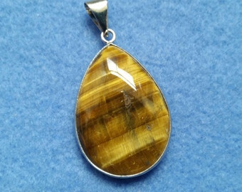 Tiger Eye Teardrop Pendant with Silver Plated Open Bezel and Bail