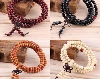 Wooden Mala Bead Bracelet - Buddhist Meditation - Various Colours - 2 Sizes