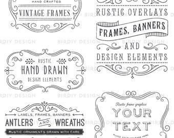 Photoshop Clipart Overlay - Vintage Frames - Rustic Clipart - Vintage Frame Clipart - Photoshop Overlay - Photo Overlay - Photoshop Brush