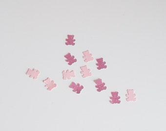 50 Teddy Bear & BabyPink Glitter Confetti Pink