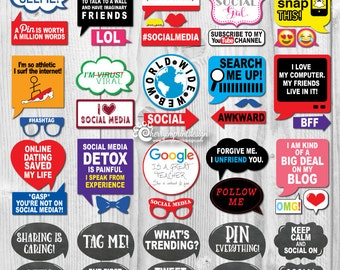 47 Funny Social Media Photo Booth Props - Internet World Wide Web Photo Props- INSTANT DOWNLOAD - DIY Printable (Pdf)