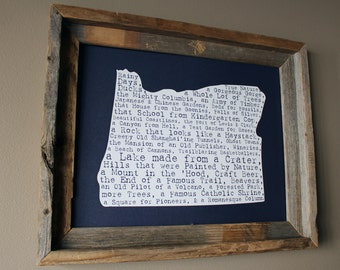 Oregon In A Nutshell Word Art Map Print (Dark Blue) - Unframed