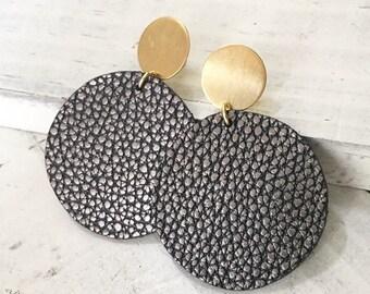 Pebbled gunmetal leather + brass earrings