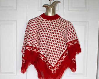 Vintage Red White Poncho Cape . 1970s 80s Acrylic Crocheted Knit Poncho with Fringe . Size Small Medium